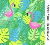 tropical summer seamless... | Shutterstock .eps vector #586248302