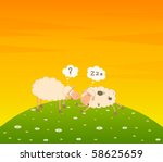 cartoon sheep sleeps on a grass | Shutterstock . vector #58625659