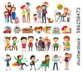 set group of people. family ... | Shutterstock .eps vector #586258472