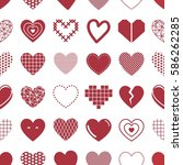 vector heart seamless pattern... | Shutterstock .eps vector #586262285