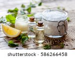 natural cosmetics with herbal... | Shutterstock . vector #586266458