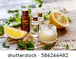 natural cosmetics with herbal... | Shutterstock . vector #586266482