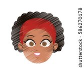 face of pretty young woman icon ... | Shutterstock .eps vector #586270178