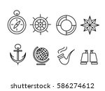 navy icons set | Shutterstock .eps vector #586274612