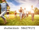 group of friends having fun and ... | Shutterstock . vector #586279172