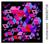 vector colorful isometric cubes ... | Shutterstock .eps vector #586282718