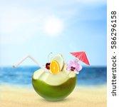 tropical paradise. green... | Shutterstock .eps vector #586296158