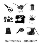 All For Sewing. Vector Icon Set