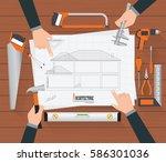 top view of construction... | Shutterstock .eps vector #586301036