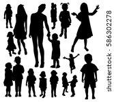 children silhouettes | Shutterstock .eps vector #586302278