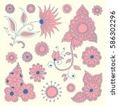 set of hand drawn flowers ... | Shutterstock .eps vector #586302296