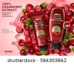 cranberry cream contained in... | Shutterstock .eps vector #586303862
