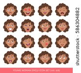 set of female facial emotions.... | Shutterstock .eps vector #586304882