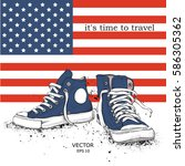 hand drawn sneakers on... | Shutterstock .eps vector #586305362