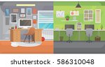 office interiors horizontal... | Shutterstock .eps vector #586310048