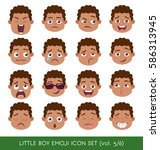 set of kid facial emotions... | Shutterstock .eps vector #586313945