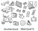 set of vintage object doodle... | Shutterstock .eps vector #586316672