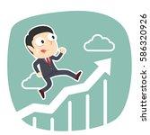 businessman running on raising...   Shutterstock . vector #586320926