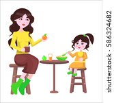 young mother sits on chair... | Shutterstock .eps vector #586324682