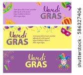 mardi gras. carnival invitation ... | Shutterstock .eps vector #586327406