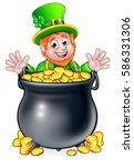 a cartoon leprechaun st... | Shutterstock .eps vector #586331306