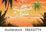 summertime on ocean coast.... | Shutterstock .eps vector #586332776