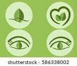 collection green leaf logo or... | Shutterstock .eps vector #586338002