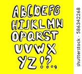doodle font. vector alphabet | Shutterstock .eps vector #586342268