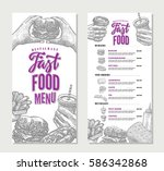vintage fast food restaurant... | Shutterstock .eps vector #586342868