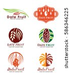 date palm fruit logo vector set ... | Shutterstock .eps vector #586346225
