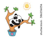 panda is sleeping on the tree | Shutterstock .eps vector #586356056