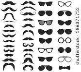 set of hipster mustache and... | Shutterstock . vector #586371752