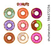 colorful set of glazed donuts... | Shutterstock .eps vector #586372256