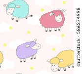 cute seamless pattern with... | Shutterstock .eps vector #586374998