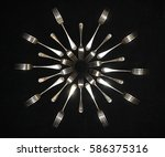 collection of silver antique... | Shutterstock . vector #586375316