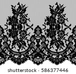 seamless black vector lace... | Shutterstock .eps vector #586377446