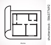 house plan icon. floor plan... | Shutterstock .eps vector #586377692