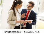 young business couple with... | Shutterstock . vector #586380716