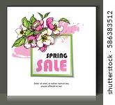 floral spring sale card  banner ... | Shutterstock .eps vector #586383512