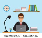 business man in a suit working... | Shutterstock .eps vector #586385456