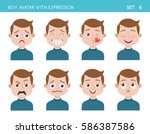 set of kid facial emotions. boy ... | Shutterstock .eps vector #586387586