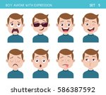 set of kid facial emotions. boy ... | Shutterstock .eps vector #586387592
