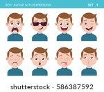 set of kid facial emotions. boy ... | Shutterstock .eps vector #586387592