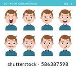 set of kid facial emotions. boy ... | Shutterstock .eps vector #586387598