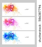 set of watercolor vector... | Shutterstock .eps vector #586387796