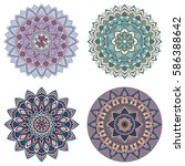 set of color floral mandalas ... | Shutterstock .eps vector #586388642