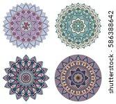 set of color floral mandalas ... | Shutterstock .eps vector #586388642