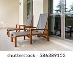 two empty chaise longue and... | Shutterstock . vector #586389152