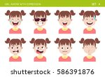 set of kid facial emotions.... | Shutterstock .eps vector #586391876