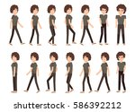 collection set of walking woman.... | Shutterstock .eps vector #586392212